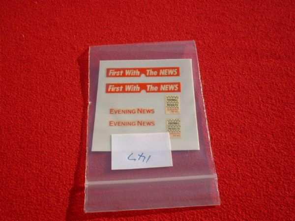 "Matchbox 1/75 42A Bedford Van "" EVENING NEWS "" TRANSFERS / DECALS"